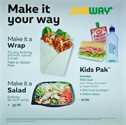 Offers from Subway in the Auckland special