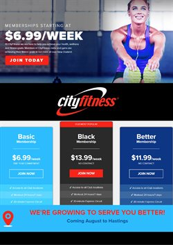 Offers from City Fitness in the Wellington special
