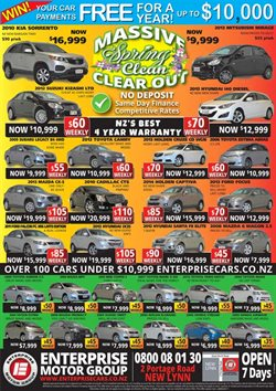 Cars, motorcycles & spares offers in the Enterprise Motor Group catalogue in Auckland