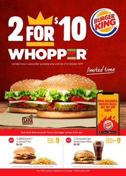 Offers from Burger King in the Tauranga special