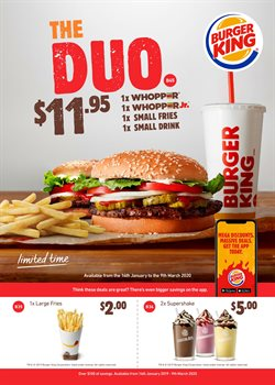 Restaurants offers in the Burger King catalogue ( 19 days left )