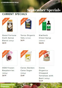 Offers from Commonsense Organics in the Wellington special