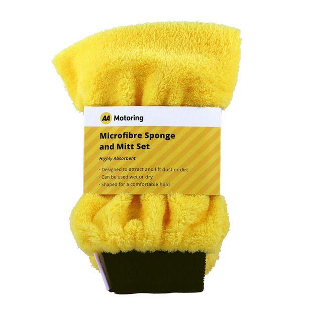AA Motoring Microfibre Sponge & Mitt Set Yellow offer at $9.99