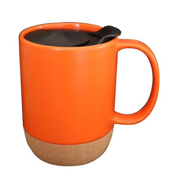 Delish Ceramic Barista Mug With Cork Base Orange 410ml offer at $9.99
