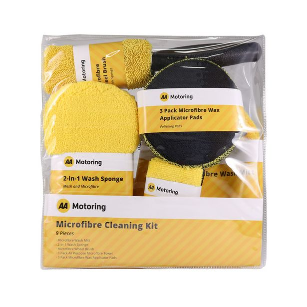 AA Motoring 9 Piece Microfibre Car Cleaning Kit Yellow offer at $19.99