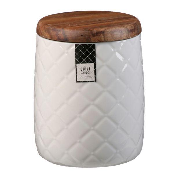 Ciroa Quilt White Porcelain Storage Jar 16.5cm offer at $14.99