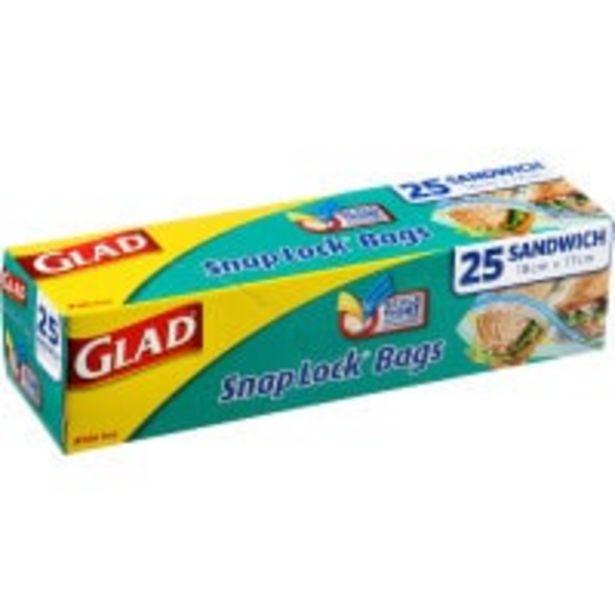 Glad snaplock plastic bags sandwich 170x180mm offer at $2.49