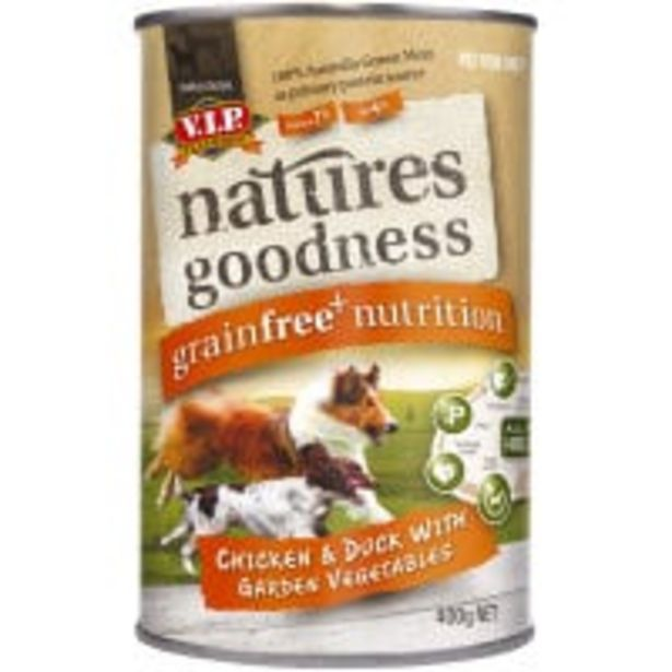 Vip natures goodness dog food chicken/duck/veg offer at $2