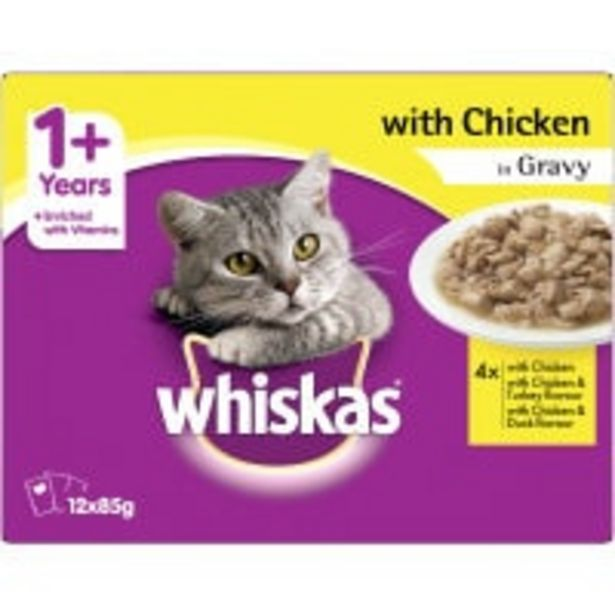 Whiskas adult wet cat food with chicken in gravy offer at $7