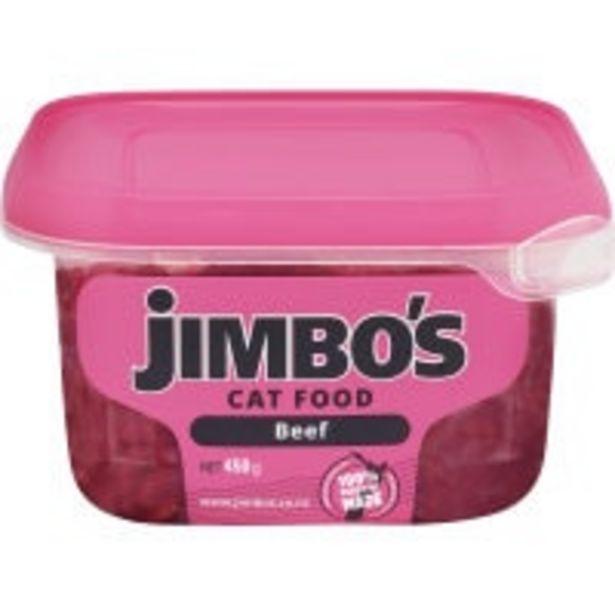Jimbos fresh cat food beef offer at $6