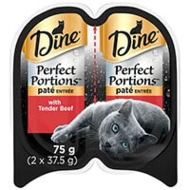 Dine perfect portions cat food pate tender beef offer at $1