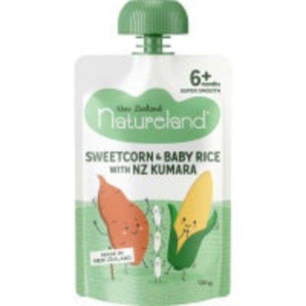 Natureland baby food kumara sweetcorn baby rice offer at $1.8