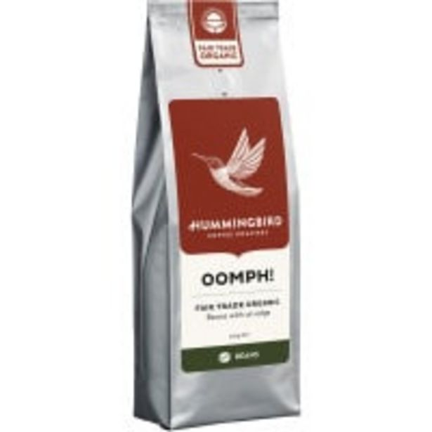 Hummingbird oomph! organic coffee beans offer at $6.5