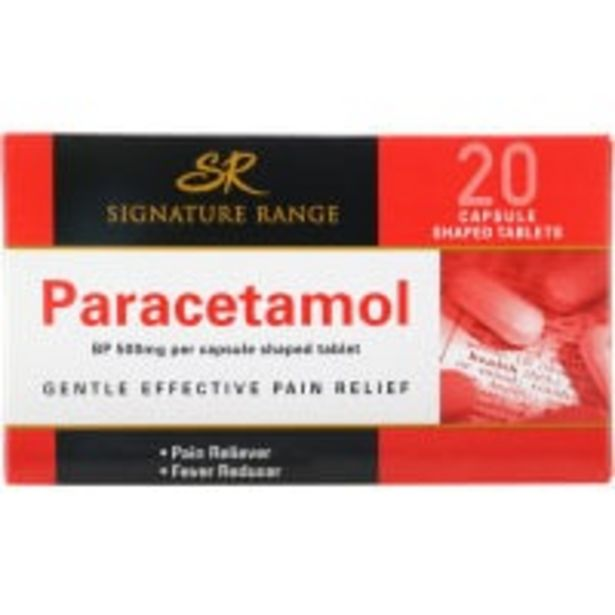 Signature range paracetamol 500mg capsule shaped tablets offer at $2.9