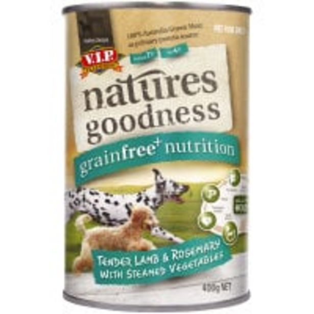 Vip natures goodness dog food lamb rosemary & vege offer at $2