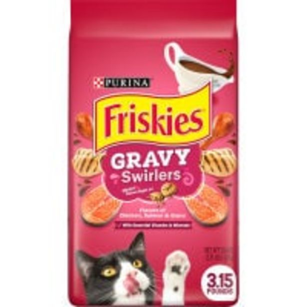Friskies dry cat food gravy swirlers offer at $10.5
