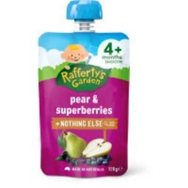 Raffertys garden baby food pear & superberries offer at $2