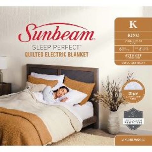 Sunbeam Sleep Perfect Quilted King Electric Blanket offer at $519.99
