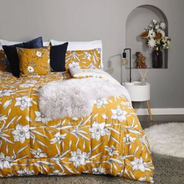 Living & Co Comforter Set 3 Piece Daffodils Yellow offer at $42