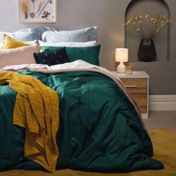 Living & Co Comforter Set 3 Piece Plain Botanical Green offer at $29