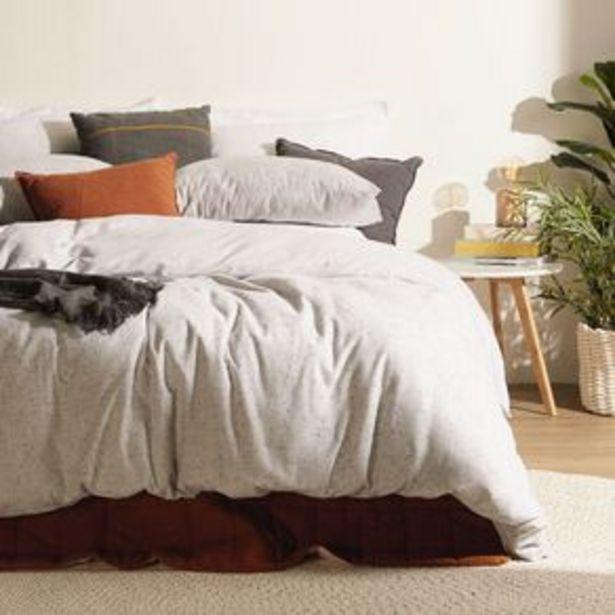 Living & Co Duvet Cover Set Brushed Cotton Marle Light Grey Super King offer at $47.98