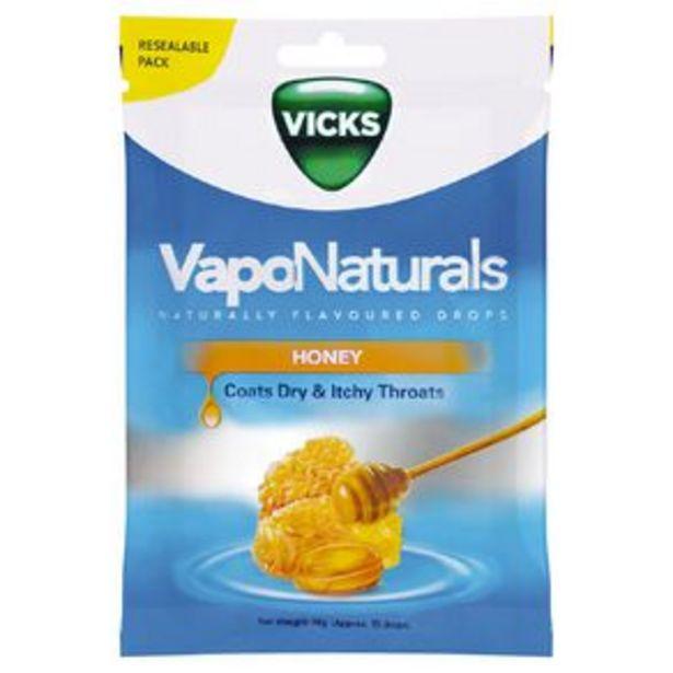 Vicks VapoNaturals Honey Drops Naturally Flavoured 19s Resealable Bag offer at $4.5