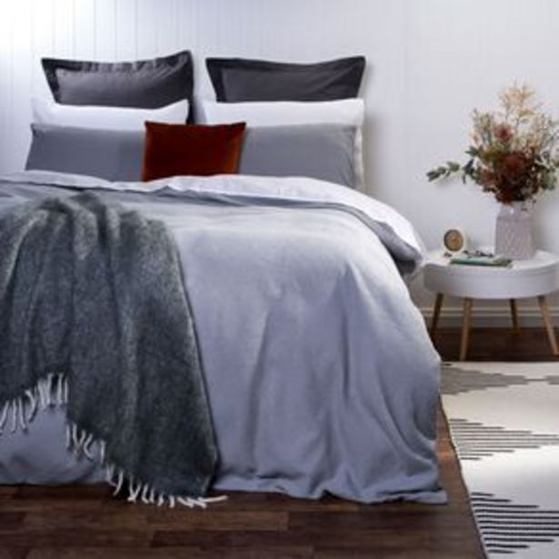 Living & Co Duvet Cover Set Luxury Waffle High Rise Grey offer at $55