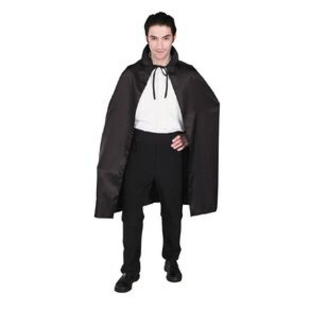 Scarehouse Satin Cape with Collar 102cm Black Adult offer at $15